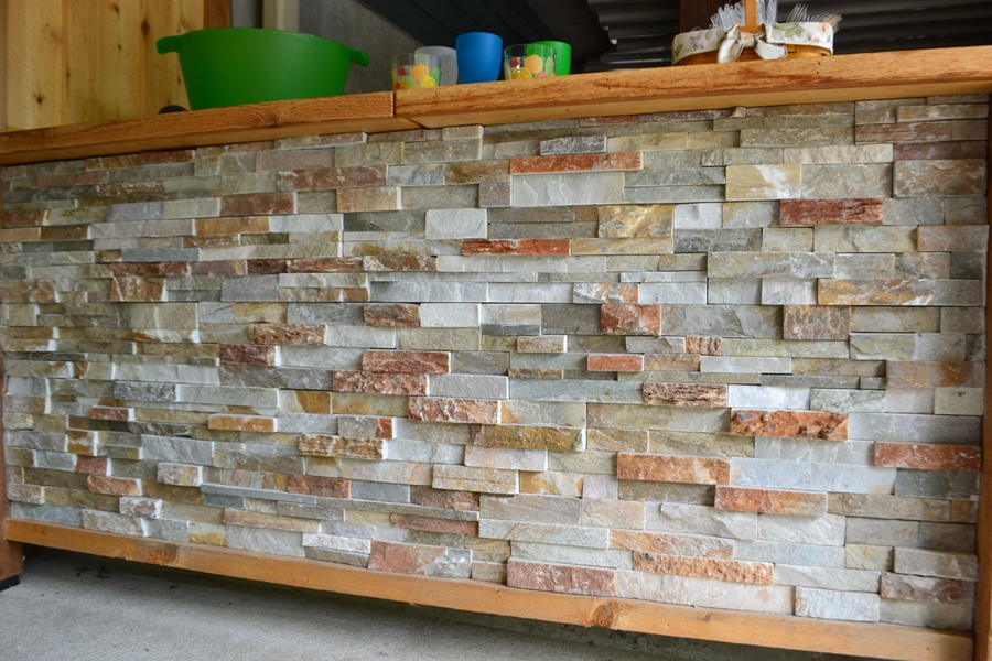 Stacked Stone Bar & Storage Front