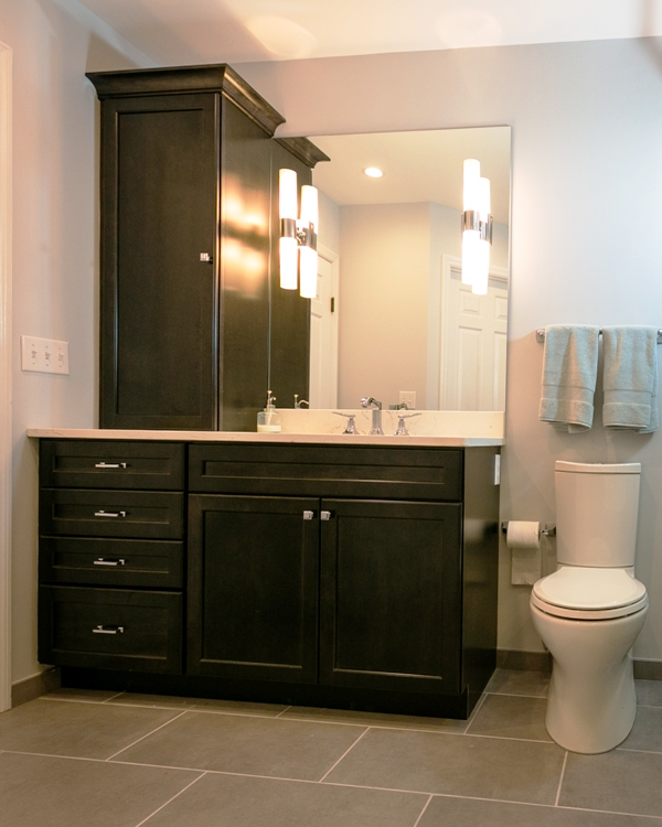 Custom vanity configuration in a modern bathroom remodel.