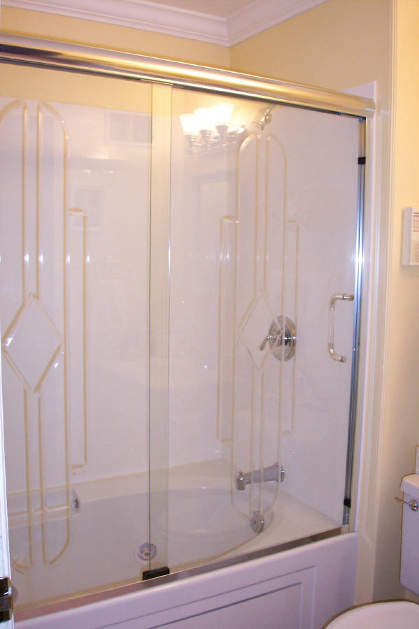 Framed shower doors offer cost savings to a bathroom remodel.