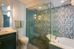 LouVaughnremodeling.com downtown cincinnati master bathroom remodel with curbless shower feature page