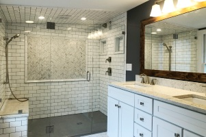 LouVaughnremodeling.com hyde park master bathroom remodel with bench seat and curbless shower feature page