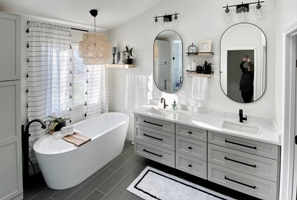 LouVaughnremodeling.com green township ohio master bathroom remodel remodel with free standing tub feature page